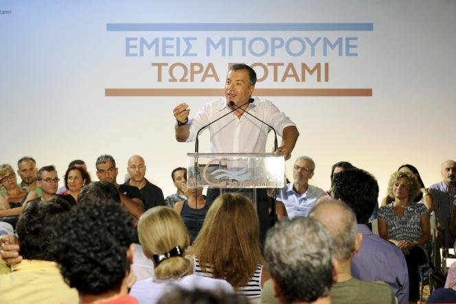 Le chef de To Potami, Stavros Theodorakis, le 7 septembre.