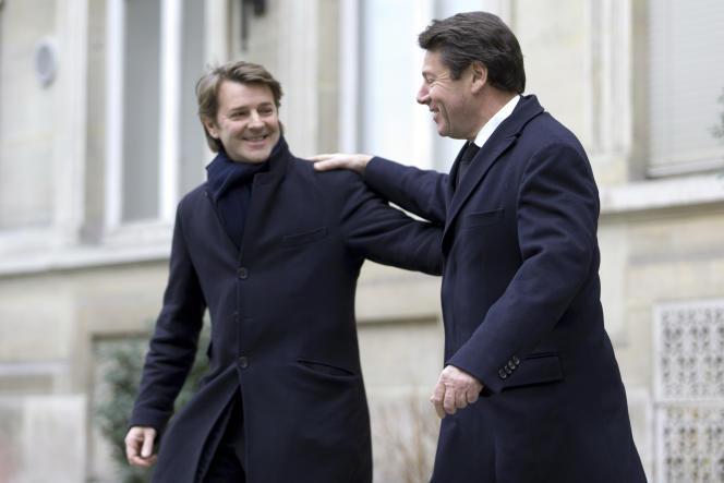 Christian Estrosi (à droite) et François Baroin, à Paris, en janvier.