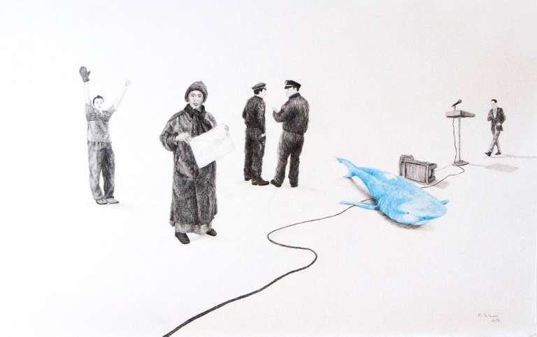 Un dessin de l'artiste algérien Massinissa Selmani.