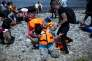 Des réfugiés syriens à leur arrivée sur l'île grecque de Lesbos le 7 septembre 2015.