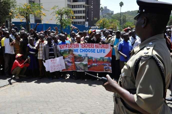 Lors d'une manifestation de professeurs, le 3 février à  Nairobi.