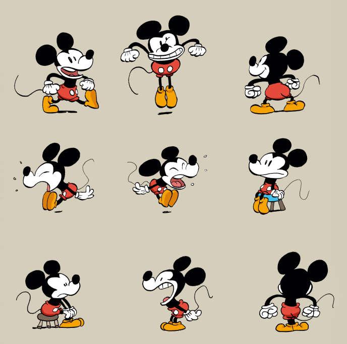 Une planche d'esquisses de Tébo, l'un des cinq auteurs choisis pour redonner vie à Mickey Mouse.