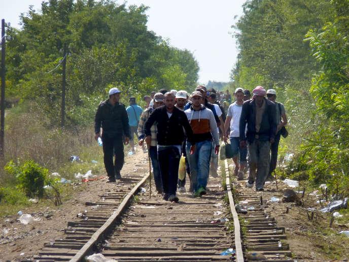Des migrants qui viennent de pénétrer en Hongrie remontent une ligne de chemin de fer.
