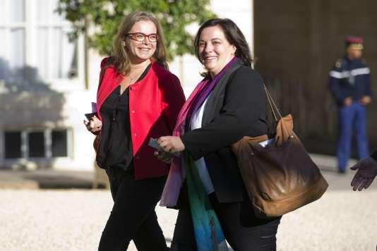 Emmanuelle Cosse, secrétaire nationale d'EELV (à droite), lors d'une rencontre à l'Elysée autour de la COP21, le 10 septembre.