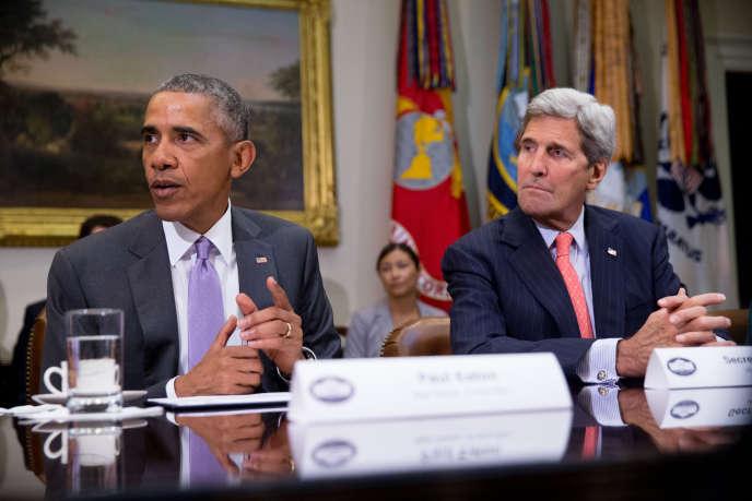 Barack Obama, le président des Etats-Unis, et John Kerry, le secrétaire d'Etat, le 10 septembre à Washington.