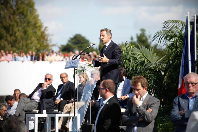 Nicolas Sarkozy, à La Baule lors de l'université d'été des Républicains, le5septembre2015.