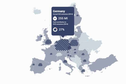L'impact pour le climat des centrales à charbon européennes.