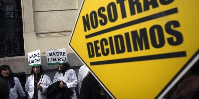 Manifestation contre la proposition de loi contre l'avortement du gouvernement espagnol, à Madrid, le 23 janvier 2014.
