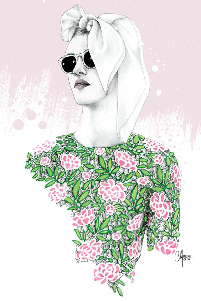 L'illustratrice Hélène Cayre dessine des publicités imaginaires pour des marques avec lesquelles elle souhaite collaborer (ici,  le styliste italien Giambattista Valli).