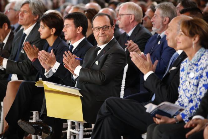 François Hollande lors de la présentation de « l'équipe de France sur le climat » à l'Elysée le 10 septembre 2015.