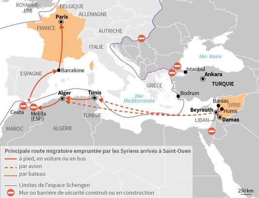 Principale route migratoire empruntée par les Syriens arrivés à Saint-Ouen.