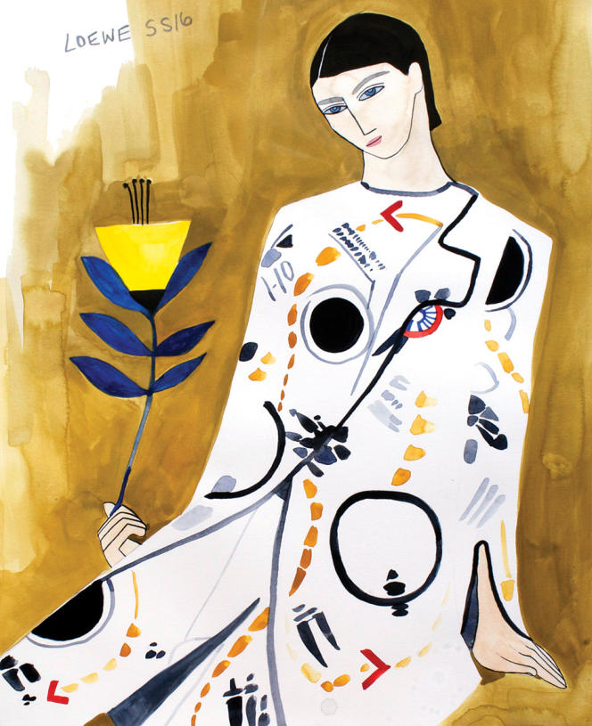 Dessin de Kelly Beeman réalisé en live pour Loewe lors de son défilé homme printemps-été 2016. Une patte très années 1920, l'une des époques reines  de l'illustration de mode.