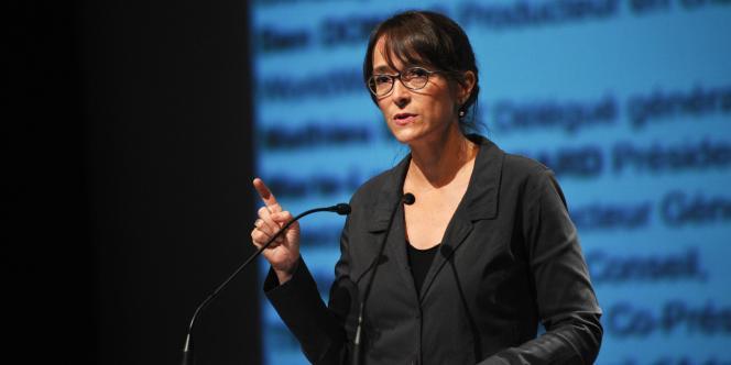 La présidente de France Télévisions, Delphine Ernotte, lors du 17e festival de fiction de La Rochelle, le 11 septembre.