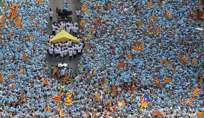 La manifestation des indépendantistes de «Voie libre vers une République catalane», le 11septembre, à Barcelone.