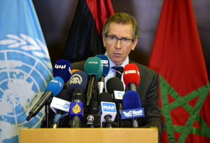 L'envoyé spécial des Nations unies pour la Libye, Bernardino Leon, à Skhirat (Maroc), le 12 septembre.