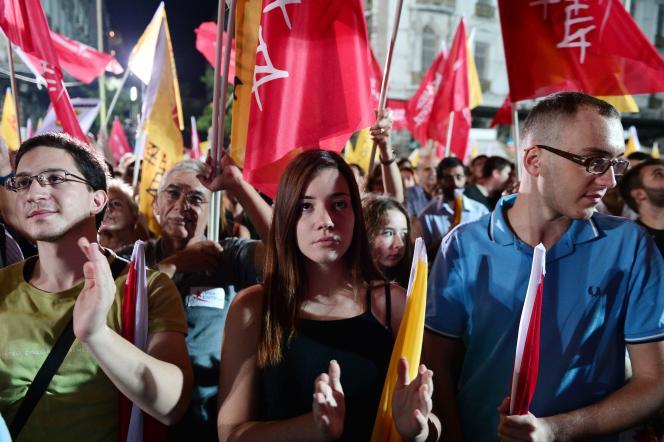 Un meeting de l'Union populaire, le 15 septembre à Athènes.