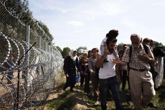 Des migrants longent la frontière de la Serbie et de la Hongrie près de l'autoroute de Röszke, mercredi 15 septembre.