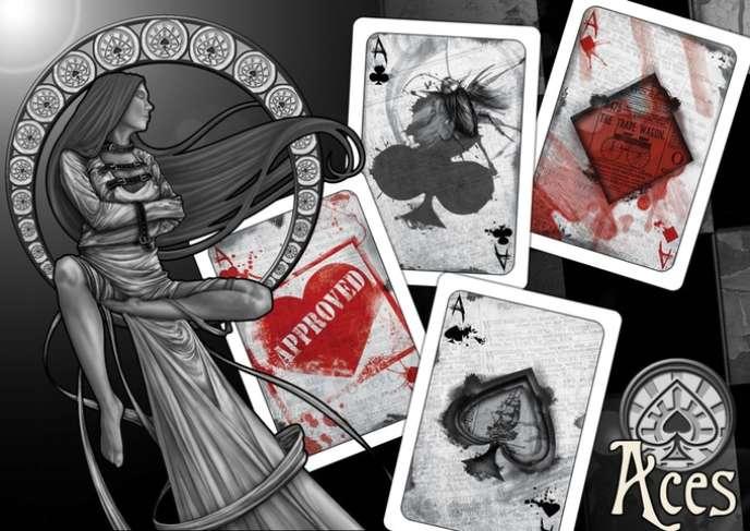 Images des cartes du jeu, dans un style qualifié par son créateur d'«horreur-rétro».