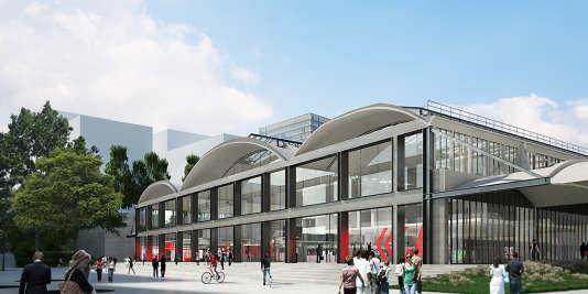 Perspective de l'entrée principale de la future Halle Freyssinet à Paris.