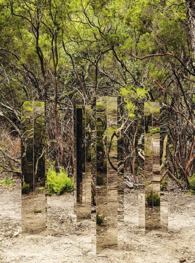 """A l'ombre des pins du Domaine du Muy, """"4 Centres délimitant un carré"""" (2008), de David Saltiel."""