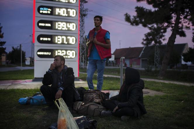 Mahboob, Hamayun et Astori attendent le bus qui doit les ramener à Sombor, le 16 septembre.