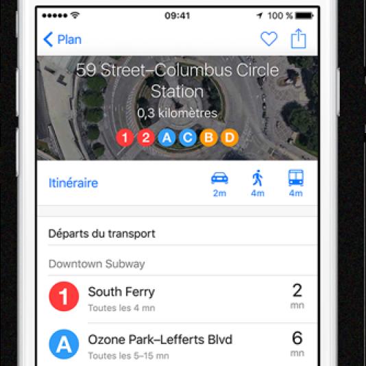 L'application Maps d'Apple.