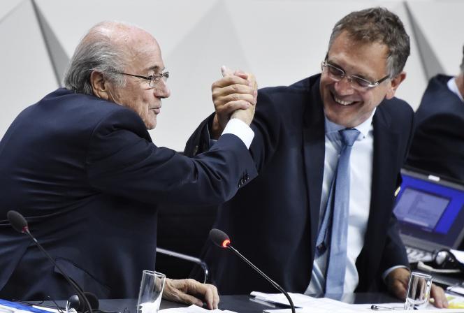 Joseph Blatter et Jérôme Valcke, le 29 mai 2015, à Zurich.