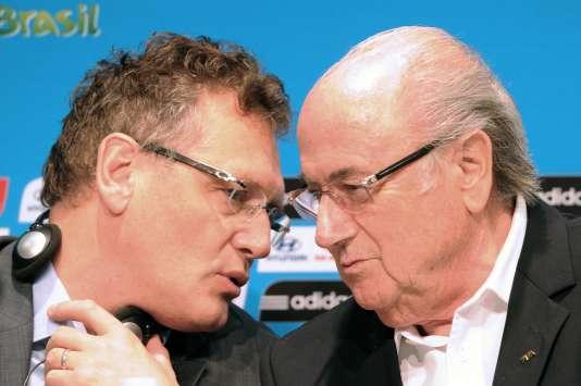 Jérôme Valcke (à gauche) et Sepp Blatter, le 14 juillet 2014.