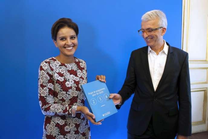 Najat Vallaud-Belkacem, ministre de l'éducation, et Michel Lussault, président du Conseil supérieur des programmes