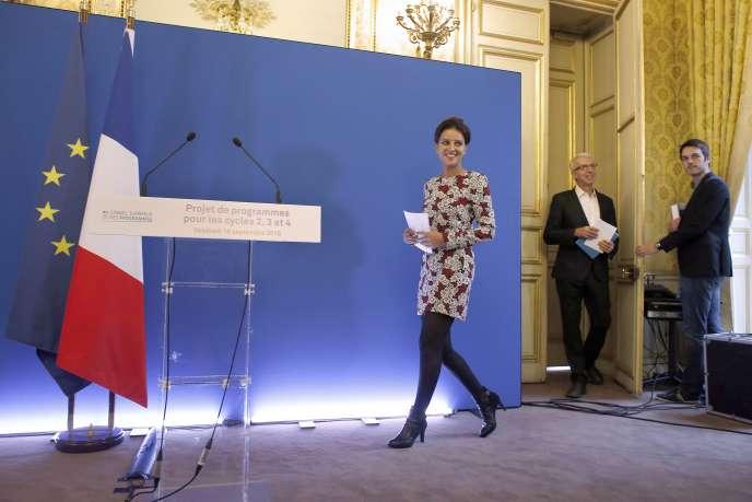 Najat Vallaud-Belkacem et Michel Lussault, président du Conseil supérieur des programmes (CSP),  présentent la réforme des programmes scolaires, le 18 septembre.