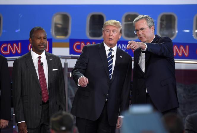 De gauche à droite : Ben Carson, Donald Trump et Jeb Bush. Tous trois candidats à l'investiture républicaine pour 2016.