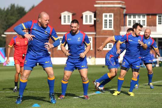 Les Roumains à l'entraînement le 20 septembre 2015, au Dulwich College de Londres.