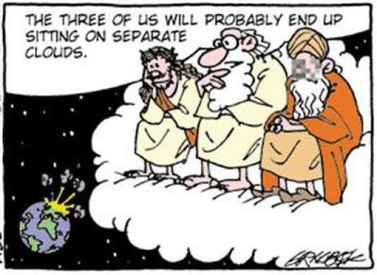 """Un extrait du dessin du Danois Carsten Graabaek projeté pendant le colloque organisé par Cartooning for Peace. """"On va sans doute finir par s'asseoir sur des nuages séparés""""."""
