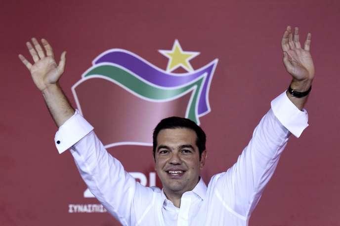 Alexis Tsipras, lors de sa victoire aux élections générales en Grèce le 20 septembre 2015.