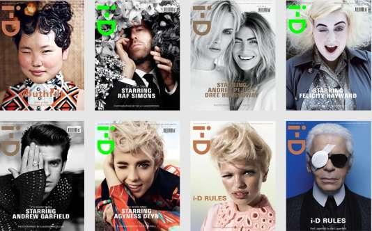 Des couvertures du magazine de style britannique i-D