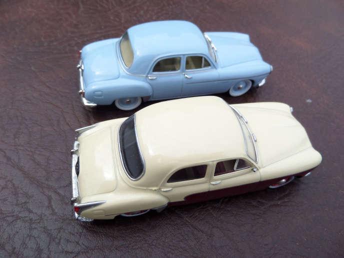 Modèles réduits de la première (en haut) et de la deuxième générations de Renault Frégate.