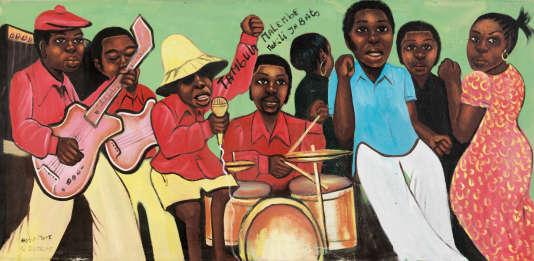 «L'Orchestre» (1975),  de Moke.  Huile sur toile, 75 cm × 200 cm.