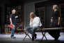 """Arnaud Desplechin (à gauche), Michel Vuillermoz et Anne Kessler, lors d'une répétition de """"Père"""", d'August Strindberg à la Comédie-Française, le 25 juillet 2015."""