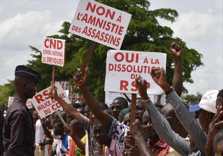 Lors d'une manifestation contre le coup d'Etat, le 23 septembre, à Ouagadougou.