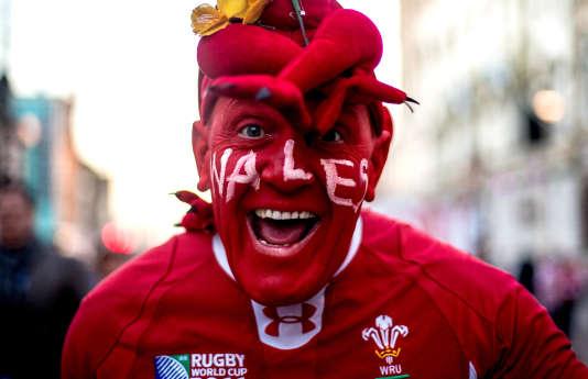 Un supporteur gallois devant le Millennium Stadium.