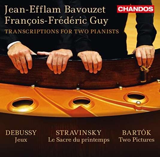 Pochette de l'album « Jeux de Debussy. Le Sacre du printemps de Stravinski. Deux Images, de Bartok », de Jean-Efflam Bavouzet et François-Frédéric Guy.