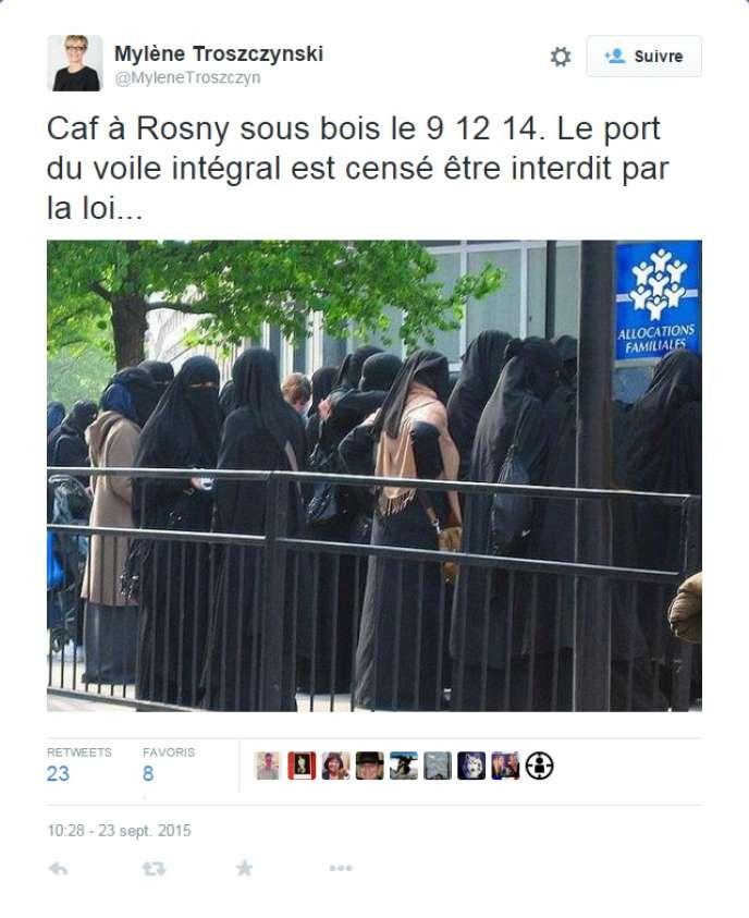 Le photomontage diffusé par une élue FN.