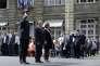 Michel Cadot, préfet de police, Bernard Cazeneuve, ministre de l'intérieur, et Anne Hidalgo, à Paris, le 2 septembre.