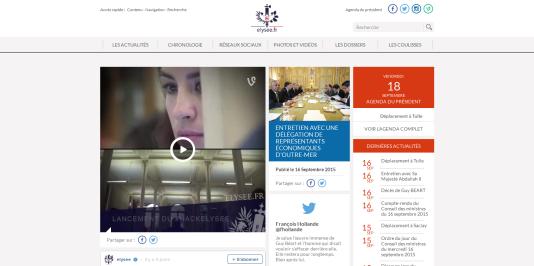 La nouvelle version du site web de l'Elysée, lancée jeudi 24 septembre.