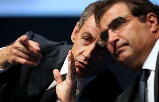 Nicolas Sarkozy et Christian Jacob, jeudi lors des journées parlementaires des Républicains à Reims (Marne).