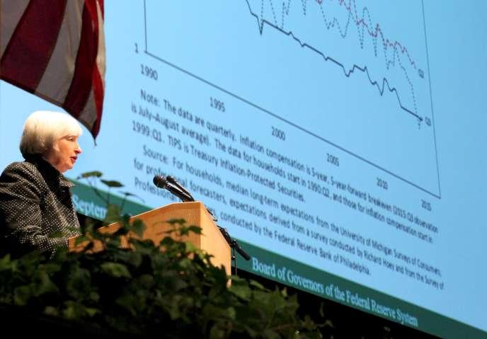 La présidente de la Fed, Janet Yellen, à Amherst, Massachusetts, en septembre 2015.