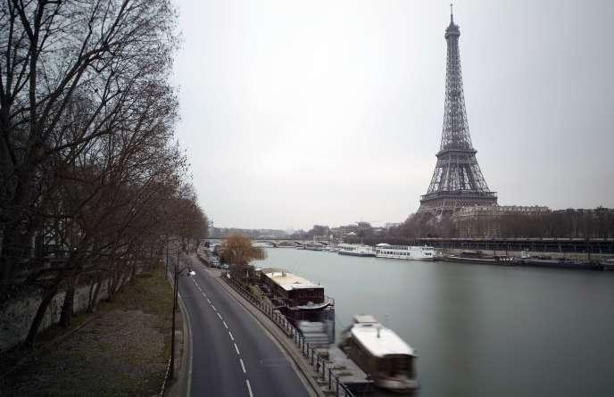 Le 19 février, la voie express Georges-Pompidou sans trafic routier.