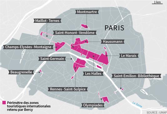Carte des zones touristiques internationales (ZTI) à Paris, où le travail du dimanche est autorisé.