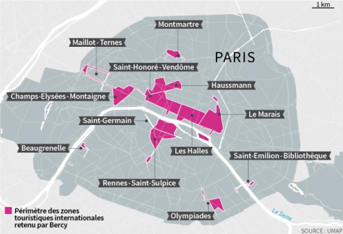 Zones touristiques internationales (ZTI) à Paris, où le travail du dimanche est autorisé.