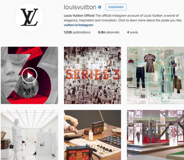 Le compte Instagram de Louis Vuitton compte 6,8 millions d'abonnés.